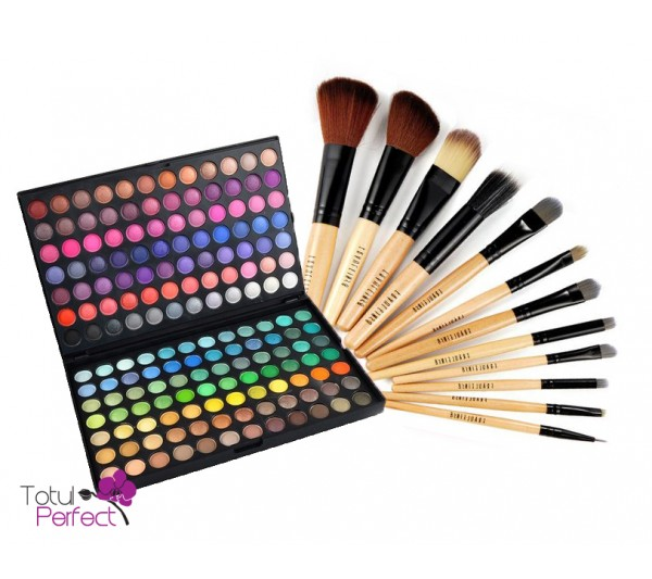 Kit Trusa profesionala 168 de farduri make-up si Set Pensule machiaj 12 Bucati